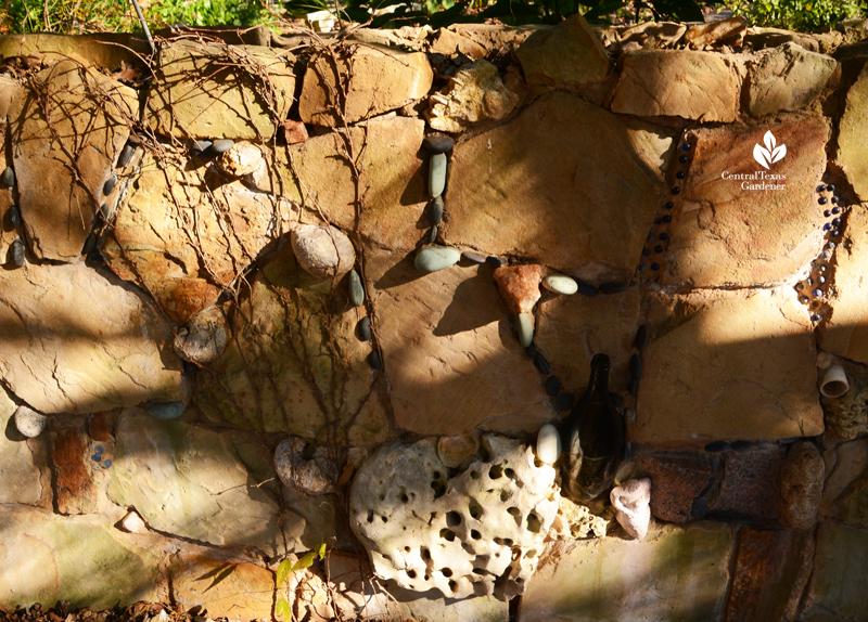 Karst limestone holey rock shells fossils folk art wall Jill Nokes Central Texas Gardener