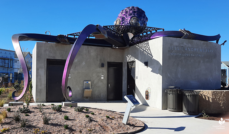 Ocho octopus Dixie Friend Gay sculpture atop restroom Jessie Andrews Park Mueller Central Texas Gardener