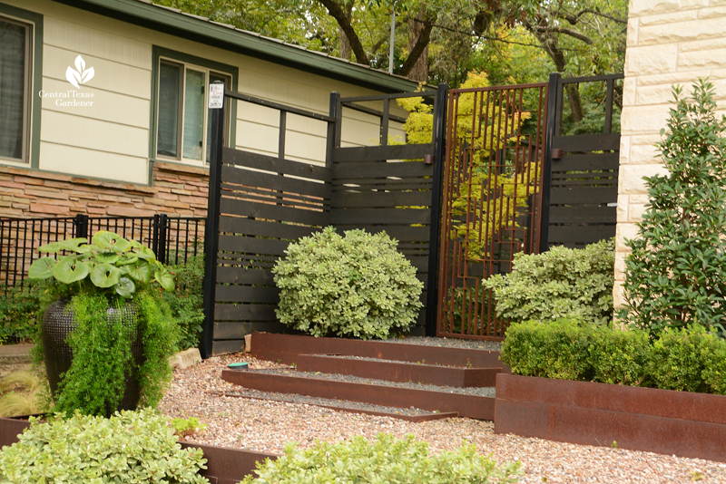 Open weave privacy fence artistic metal gate Harper Dujon Central Texas Gardener