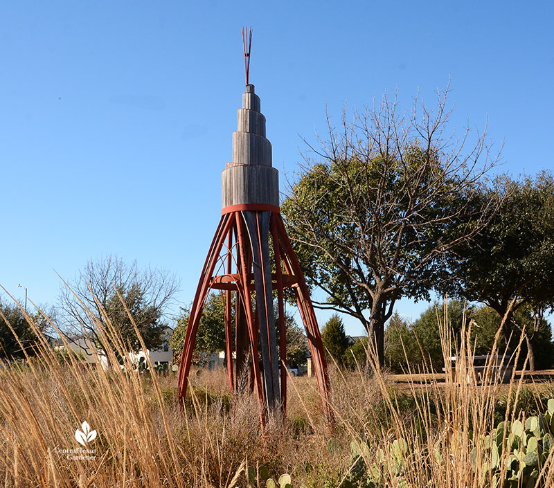 Wigwam sculpture by Chris Levack Mueller Southwest Greenway with Lindheimer muhly Central Texas Gardener