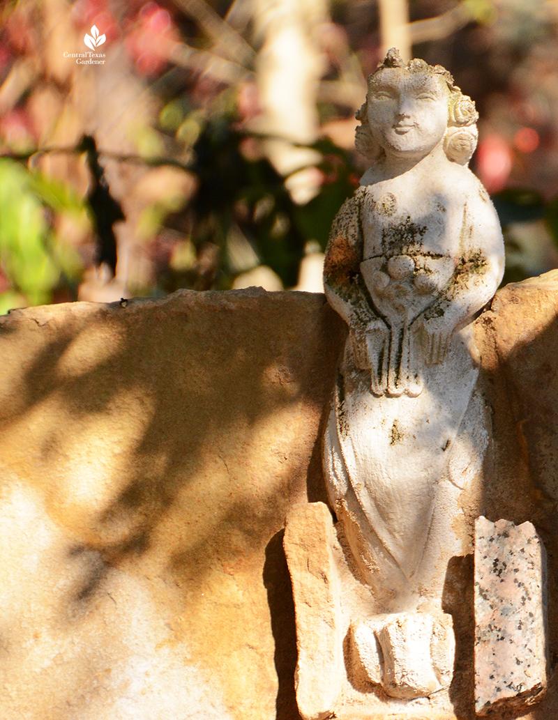 charming miniature sculpture figurine Jill Nokes folk art stone wall Central Texas Gardener