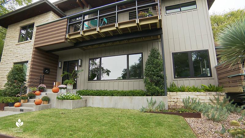 contemporary makeover 1950s house garden planter beds limestone steel concrete Harper Dujon Central Texas Gardener
