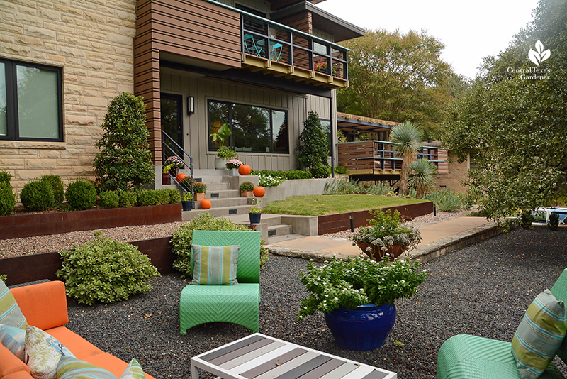 contemporary makeover 1950s house with front yard outdoor entertainement area Central Texas Gardener