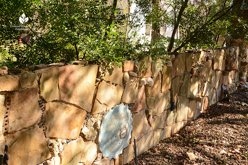 folk art stone wall Jill Nokes garden Central Texas Gardener