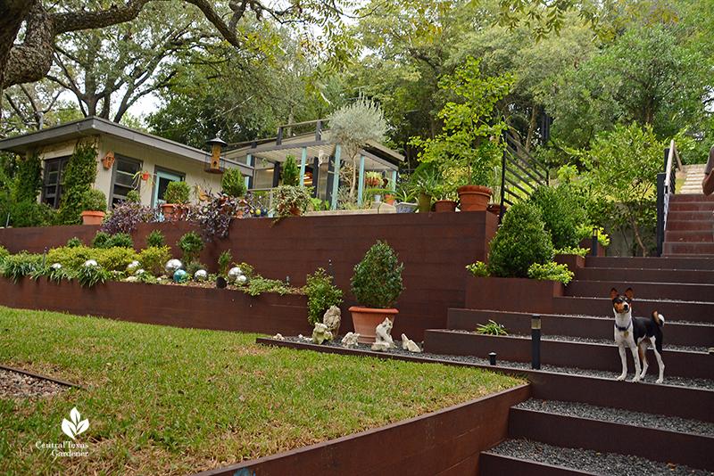 Steel retaining walls planters steep slope design Duhon Harper garden