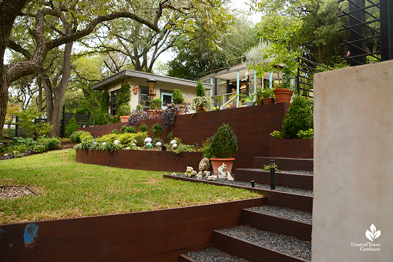 steel planters and retaining wall concrete retaining wall living areas sloped yard Dujon Harper garden