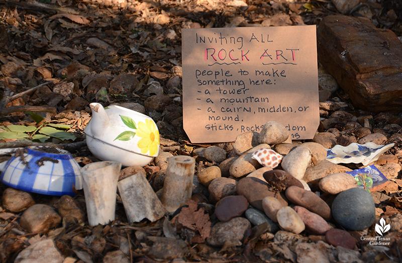 neighborhood rock art invitation curbside trinket garden Jill Nokes Central Texas Gardener