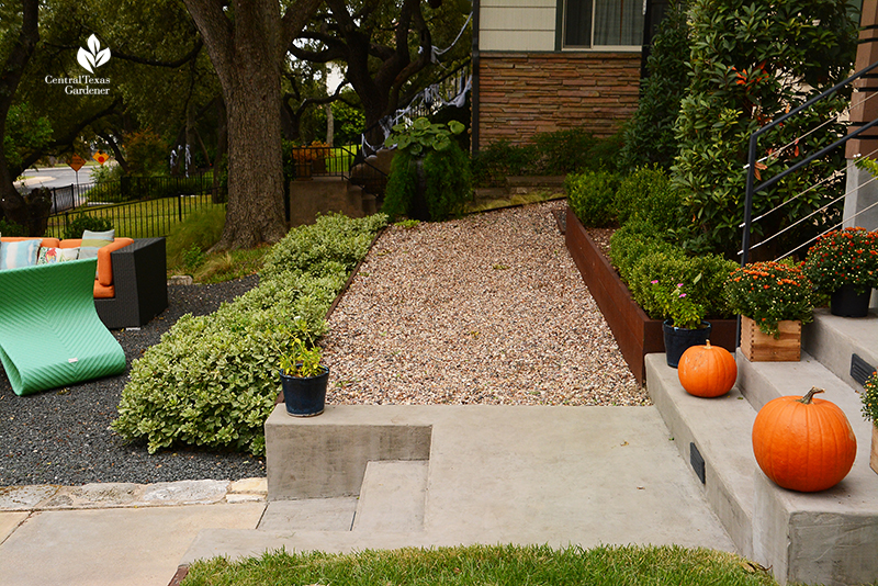 pea gravel path steel plate retaining wall rainwater infiltration Harper Dujon Central Texas Gardener