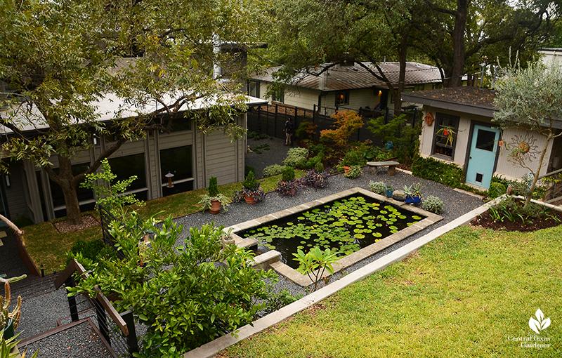 formal pond gravel parterre steep slope design Harper Duhon garden