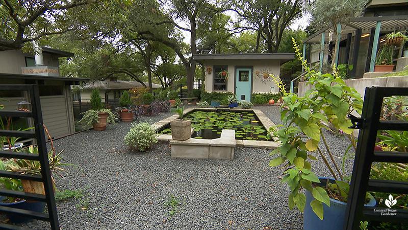 formal limestone pond gravel parterre charming shed outdoor living Harper Duhon garden