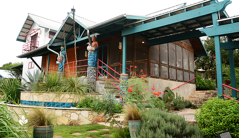 rain water collection sculptures artistic garden for wildlife habitat artist Claudia Reese Central Texas Gardener