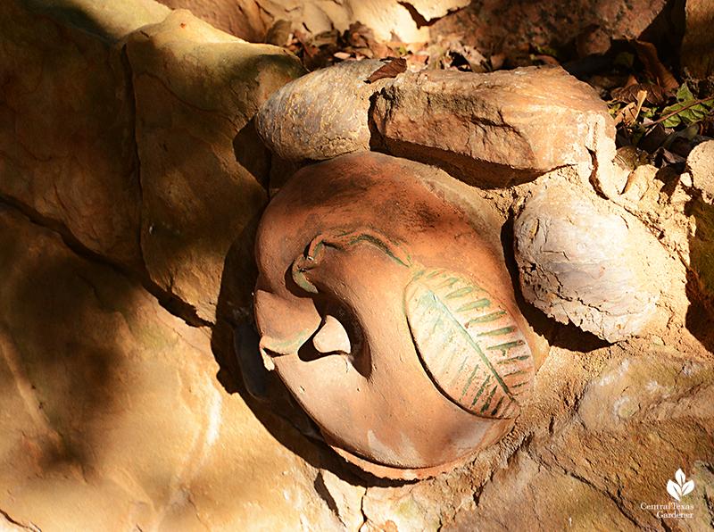 repurposed objects shells stones Jill Nokes folk art stone wall Central Texas Gardener