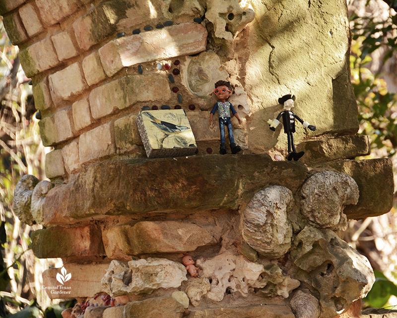 trinkets toys quirky fun folk art stone column and arch Jill Nokes Central Texas Gardener