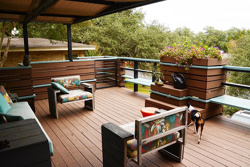 upstairs deck outdoor living Harper Dujon design Central Texas Gardener