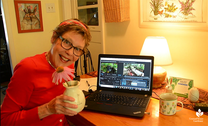 Central Texas Gardener producer Linda Lehmusvirta working from home during 2020 2021 pandemic