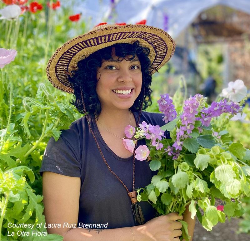 Laura Ruiz Brennand La Otra Flora in her garden