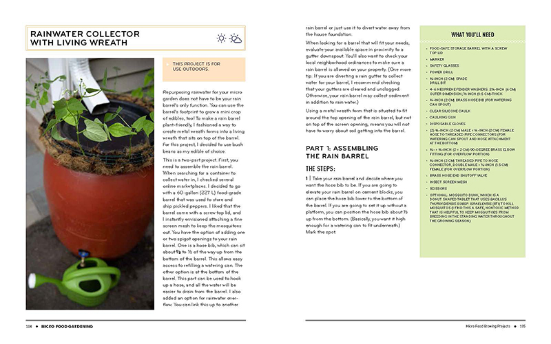 rain water collection design from Micro Food Gardening by Jen McGuinness Central Texas Gardener