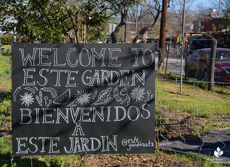 welcome to Este Garden sign