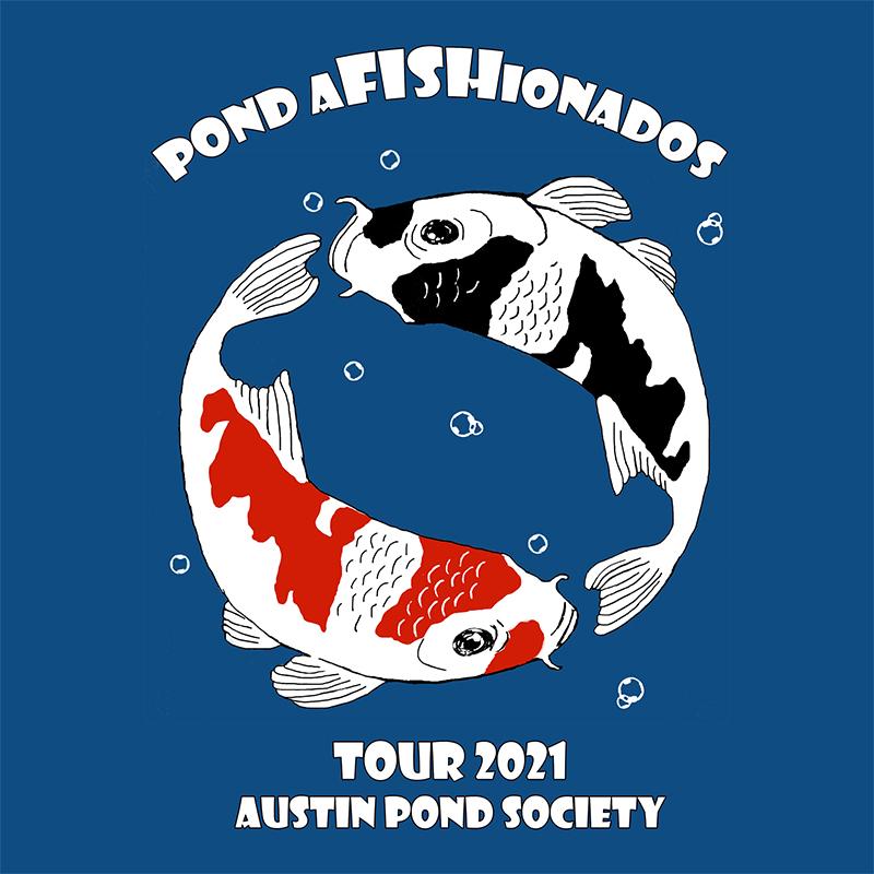 circle koi with text and bubbles Austin Pond Society Afishonados June 2021 pond tour