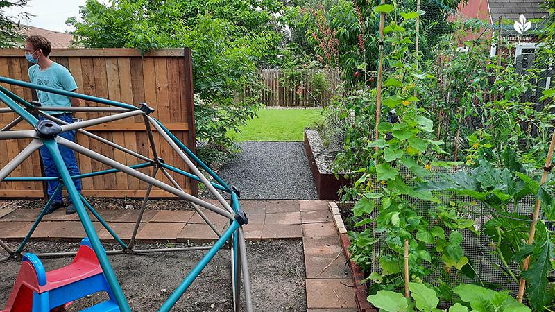 Vegetable garden backyard jungle gym to more formal backyard Open Envelope Studio design