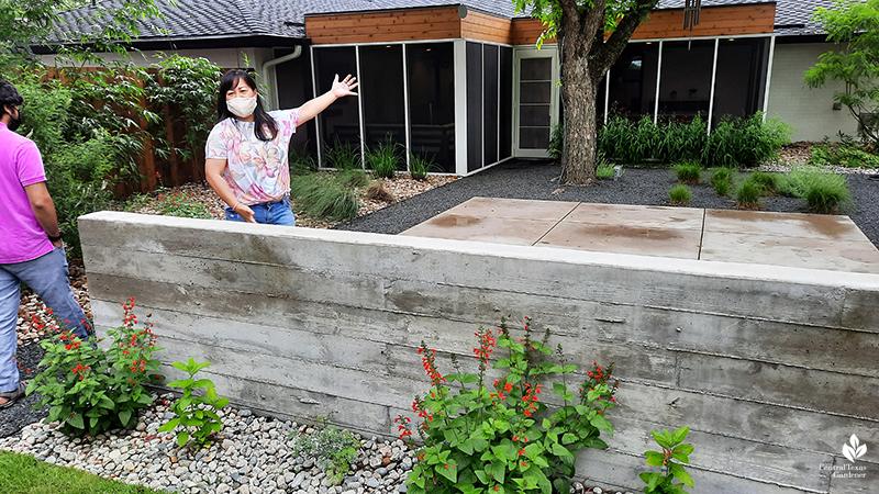board form concrete wall bench native Salvia coccinea Open Envelope Studio design tour with host and guest Central Texas Gardener