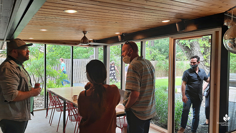 screened in porch custom wood table cedar ceiling Matt Norton Open Envelope Studio
