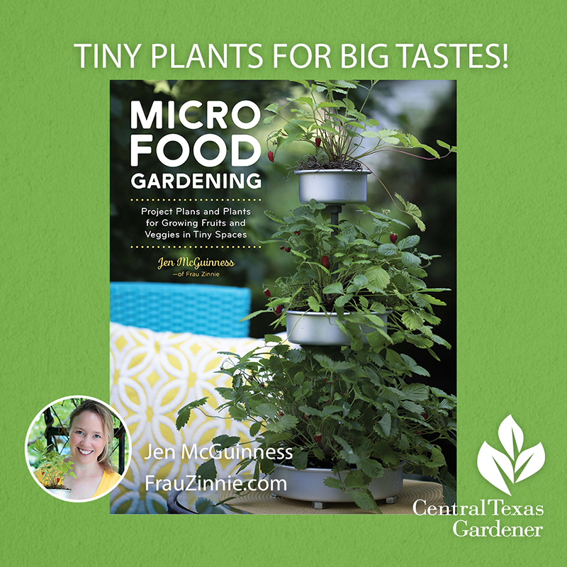 Micro Food Gardening book cover and picture of author
