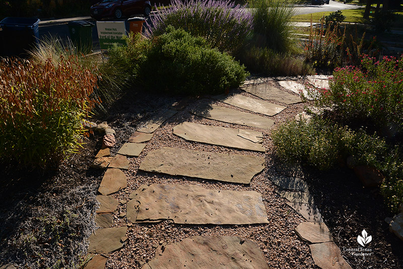 front yard stone path island garden with native plants