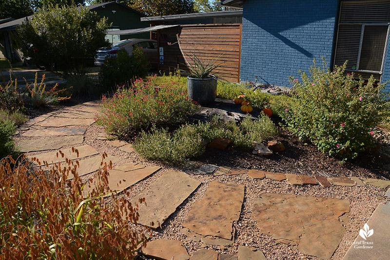 front yard stone path island bed native plants