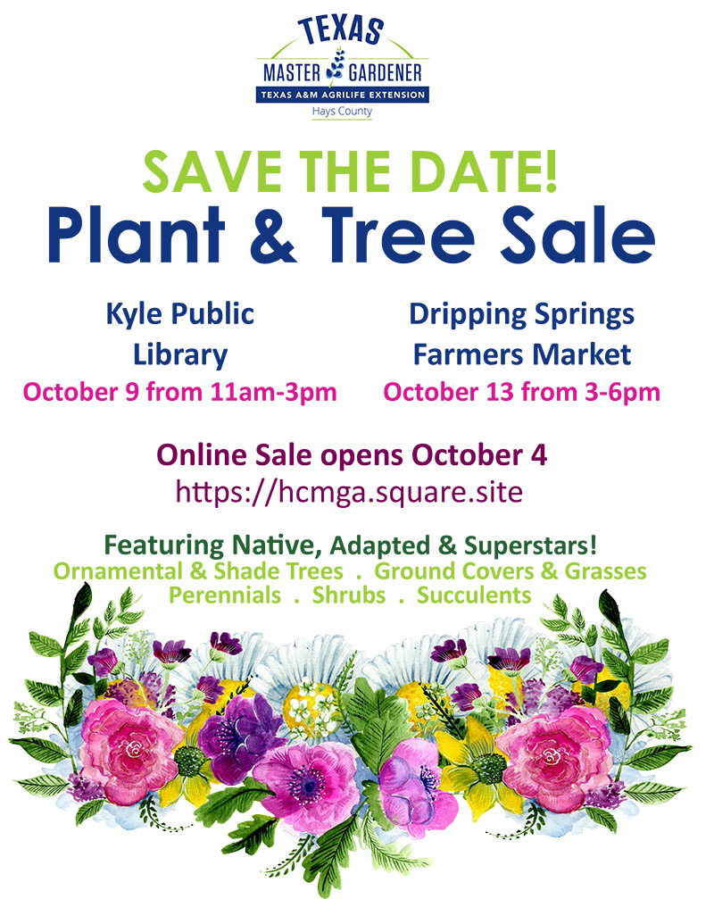 Hays County Master Gardener sale October 9 and October 13
