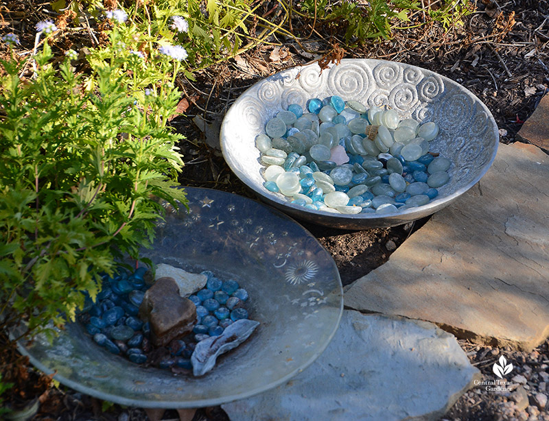 shallow bowls bee and bird water dishes